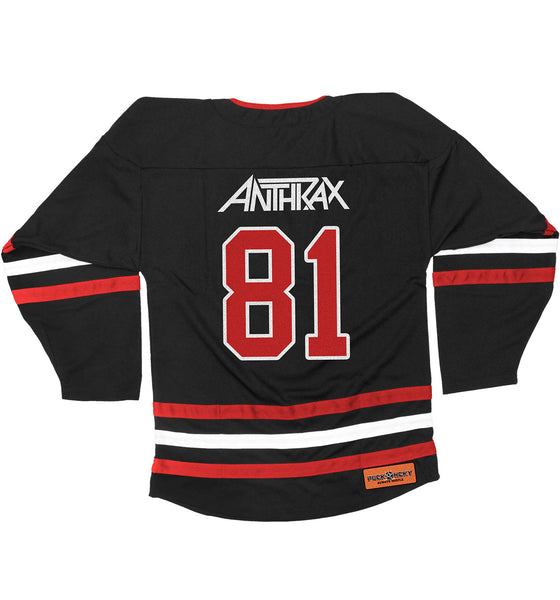 ANTHRAX 'NOT' hockey jersey in black, red, and white back view