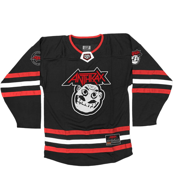 ANTHRAX 'NOT' hockey jersey in black, red, and white front view
