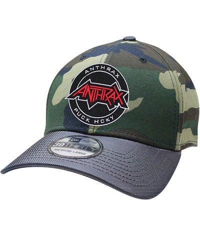 ANTHRAX 'OFFICIAL PUCK' stretch fit hockey cap in camo with charcoal brim