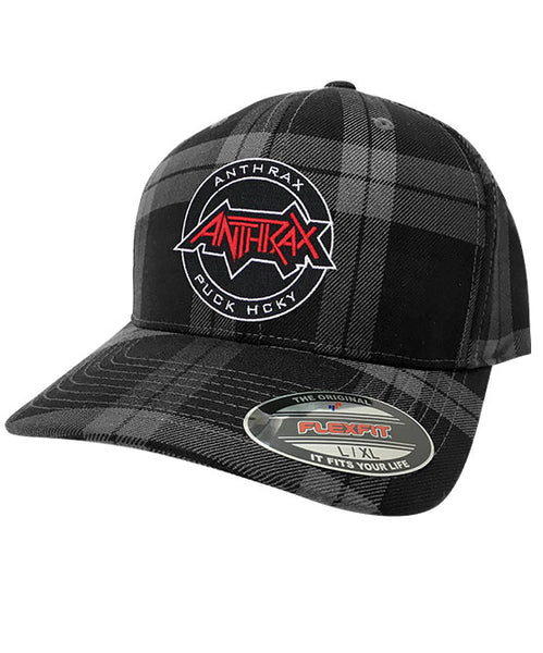 ANTHRAX 'OFFICIAL PUCK' plaid hockey cap in grey and black plaid