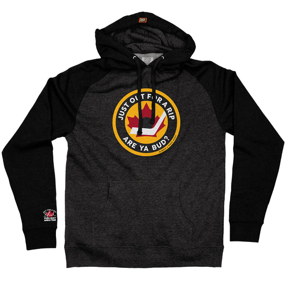OUT FOR A RIP - B RICH 'HOCKEY NIGHT' pullover hockey hoodie in charcoal heather with black sleeves