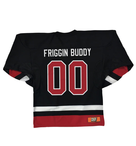 OUT FOR A RIP - B RICH 'HOCKEY NIGHT' hockey jersey in black, white, and red back view