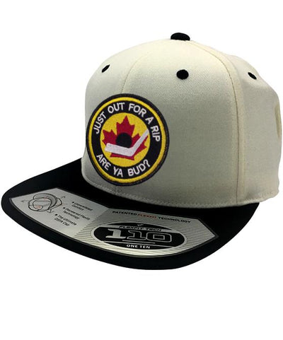 B.RICH 'HOCKEY NIGHT' snapback hockey cap in cream/black