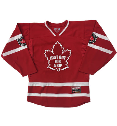 OUT FOR A RIP - B RICH 'JUMP IN THE LAKE' hockey jersey in red and white front view
