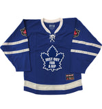 OUT FOR A RIP - B RICH 'JUMP IN THE LAKE' hockey jersey in royal and white front view