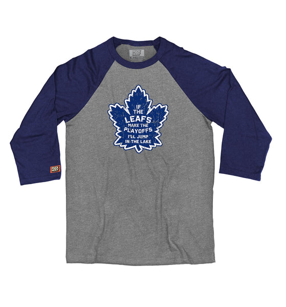 OUT FOR A RIP - B RICH 'JUMP IN THE LAKE' hockey raglan t-shirt in athletic heather/navy