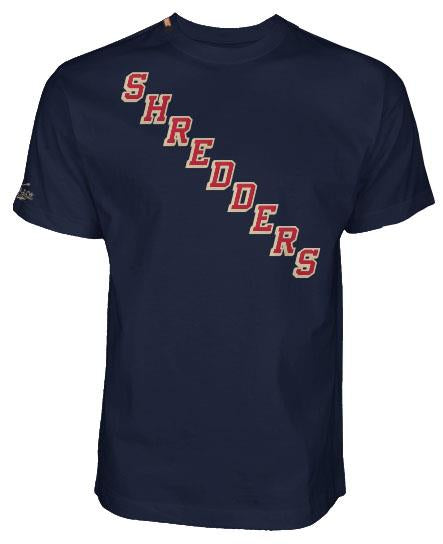 BUMBLEFOOT 'SHREDDERS NY' short sleeve hockey t-shirt in midnight navy front view