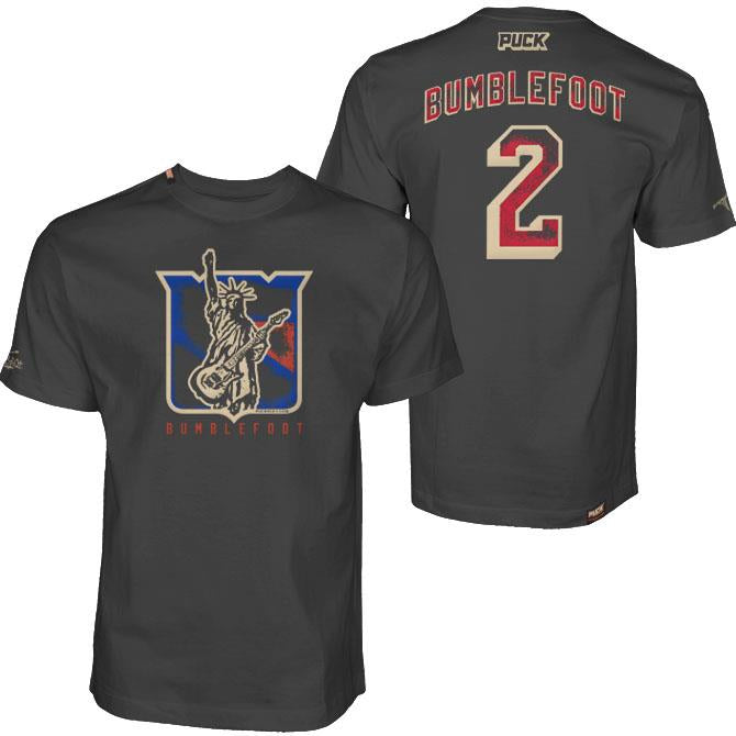 BUMBLEFOOT 'LIBERTY' short sleeve hockey t-shirt in heavy metal grey back view