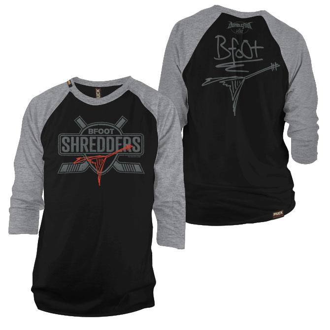 BUMBLEFOOT 'RIFF MASTER' hockey raglan t-shirt in black/grey front and back view