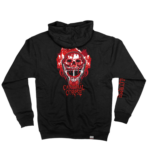 CANNIBAL CORPSE 'CODE OF THE TENDERS' full zip hockey hoodie in black back view