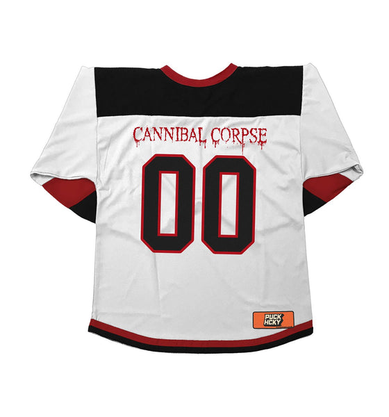 CANNIBAL CORPSE 'GOAL OBSESSED' hockey jersey in white, black, and red back view