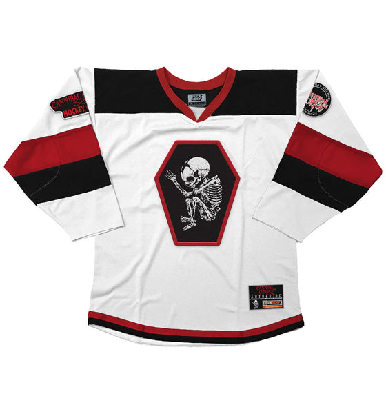 CANNIBAL CORPSE 'GOAL OBSESSED' hockey jersey in white, black, and red front view