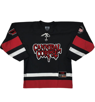 CANNIBAL CORPSE 'HOCKEY CLUB' hockey jersey in black, white, and red front view