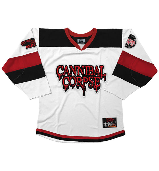 CANNIBAL CORPSE 'HOCKEY CLUB' hockey jersey in white, black, and red front view