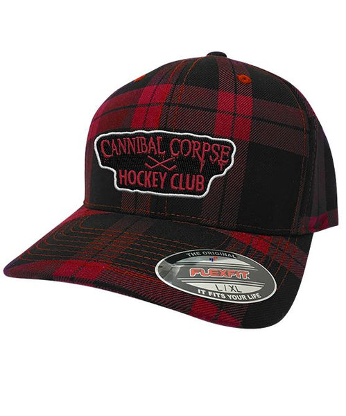 CANNIBAL CORPSE 'HOCKEY CLUB' plaid fitted hockey cap in black and red