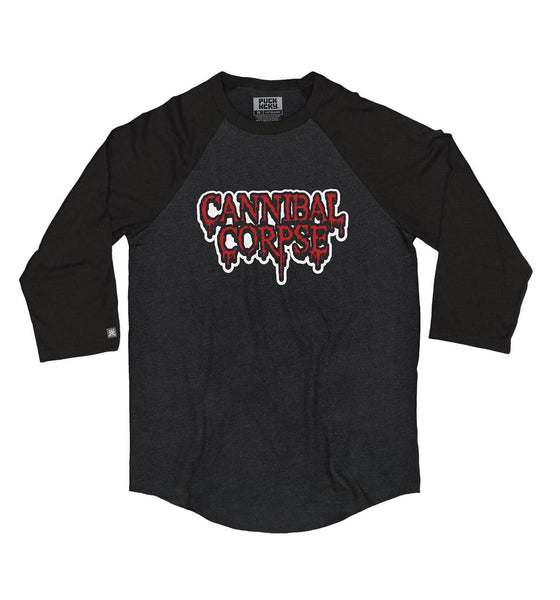 CANNIBAL CORPSE 'HOCKEY CLUB' hockey raglan in black heather with black sleeves