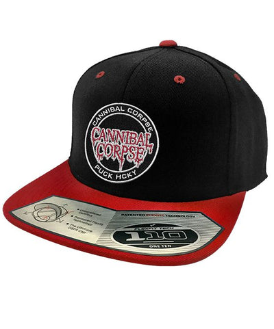 CANNIBAL CORPSE 'OFFICIAL PUCK' snapback hockey cap in black and red