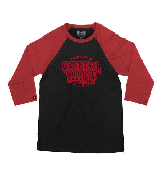 CANNIBAL CORPSE 'PROPERTY OF' hockey raglan in black with red sleeves