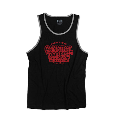 CANNIBAL CORPSE 'PROPERTY OF' hockey tank top in black with charcoal trim