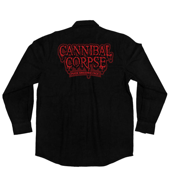 CANNIBAL CORPSE 'PUCK SMASHED FACE' hockey flannel in solid black back view