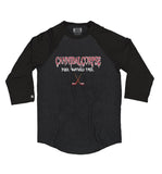 CANNIBAL CORPSE 'PUCK SMASHED FACE' hockey raglan in black heather with black sleeves
