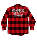 CANNIBAL CORPSE 'SKATIN' BACK TO LIFE' hockey flannel in red plaid back view