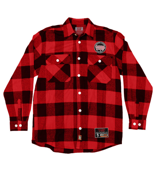 CANNIBAL CORPSE 'SKATIN' BACK TO LIFE' hockey flannel in red plaid front view