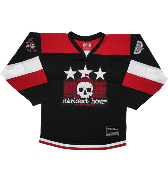 DARKEST HOUR 'DELIVER US' hockey jersey in black, red, and white front view
