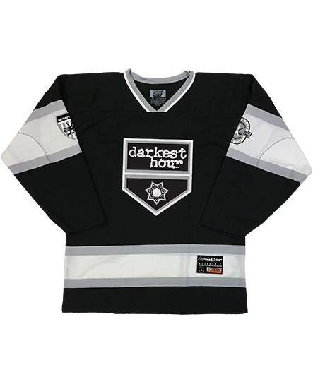 DARKEST HOUR 'DEPARTURE' hockey jersey in black, white, and grey front view