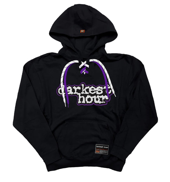 DARKEST HOUR 'ENTER OBLIVION' laced pullover hockey hoodie in black with purple and white laces