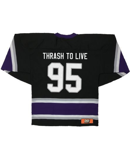DARKEST HOUR 'ENTER OBLIVION' hockey jersey in black, purple, grey, and white back view