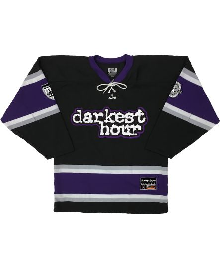 DARKEST HOUR 'ENTER OBLIVION' hockey jersey in black, purple, grey, and white front view