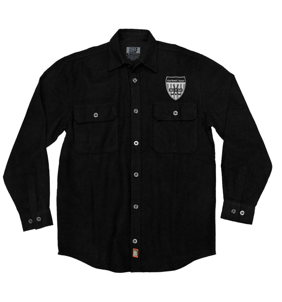 DARKEST HOUR 'PIT CREW' hockey flannel in solid black with grey patch