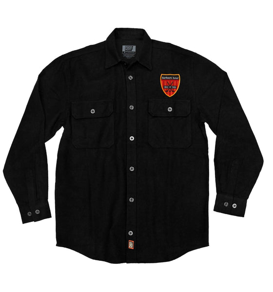 DARKEST HOUR 'PIT CREW' hockey flannel in solid black with red patch