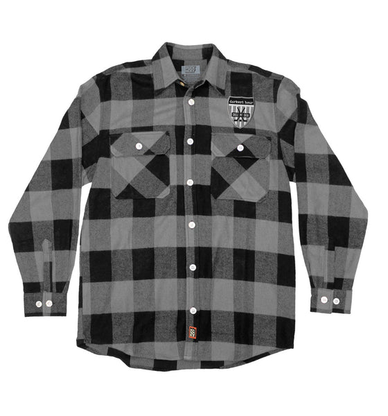 DARKEST HOUR 'PIT CREW' hockey flannel in grey plaid with grey patch