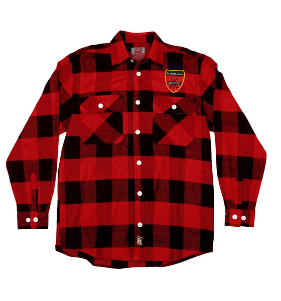 DARKEST HOUR 'PIT CREW' hockey flannel in red plaid with red patch