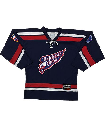 DARKEST HOUR 'RAPTURE IN EXILE' hockey jersey in navy, red, and white front view
