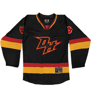 DARKEST HOUR 'THE MISANTHROPE' hockey jersey in black, red, and gold front view
