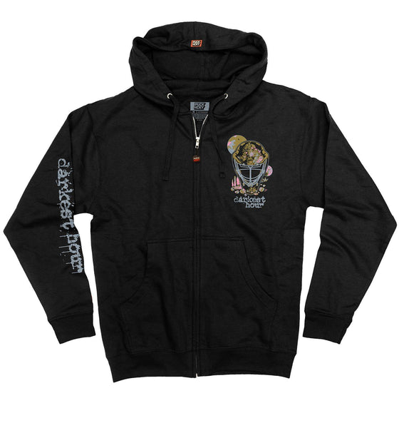 DARKEST HOUR 'THE TRUTH' full zip hockey hoodie in black front view