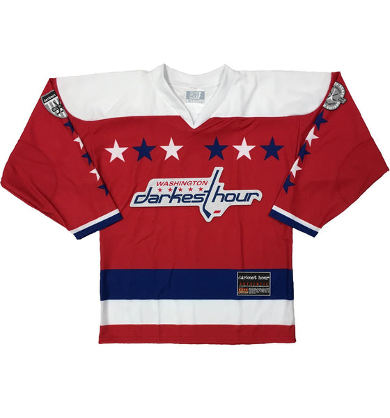 DARKEST HOUR 'TIMELESS NUMBERS' hockey jersey in red, royal, and white front view