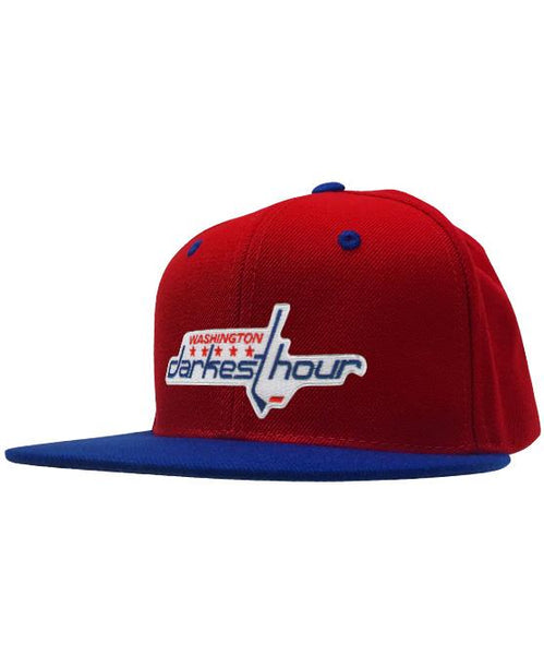 DARKEST HOUR 'TIMELESS NUMBERS' snapback hockey cap in red and royal blue
