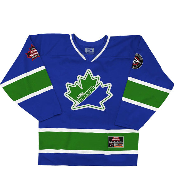 DEVIN TOWNSEND 'HAIL THE LEAF' hockey jersey in royal, kelly, and white front view