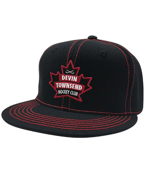 DEVIN TOWNSEND 'HOCKEY CLUB' contrast stitch snapback hockey cap in black with red stitching