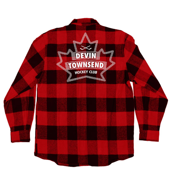 DEVIN TOWNSEND 'LEAF HOCKEY CLUB' hockey flannel in red plaid back view