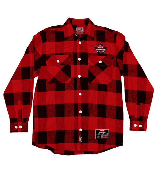 DEVIN TOWNSEND 'LEAF HOCKEY CLUB' hockey flannel in red plaid front view