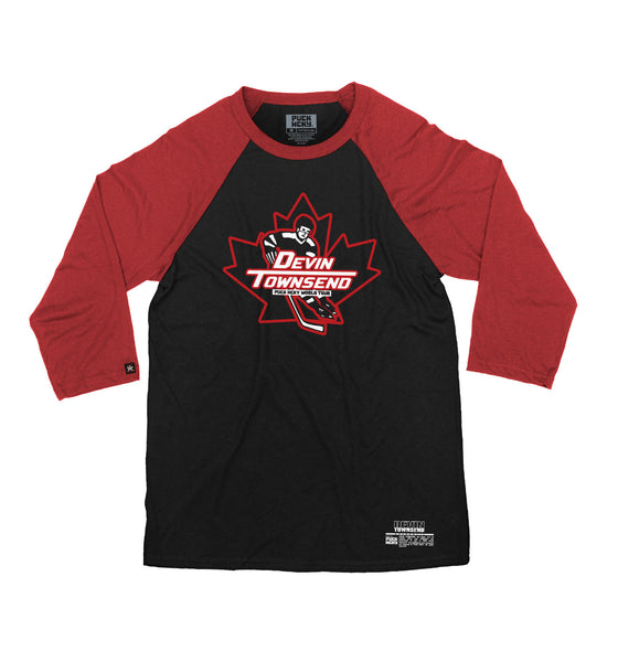 DEVIN TOWNSEND 'OVER THE BOARDS' hockey raglan in black with red sleeves