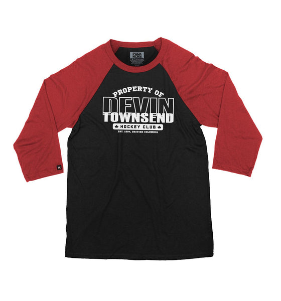 DEVIN TOWNSEND 'PROPERTY OF' hockey raglan in black with red sleeves