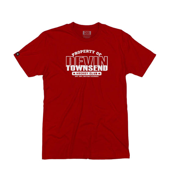 DEVIN TOWNSEND 'PROPERTY OF' short sleeve hockey t-shirt in red