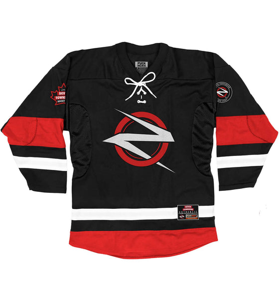 DEVIN TOWNSEND 'TEAM ZILTOID' hockey jersey in black, red, and white front view