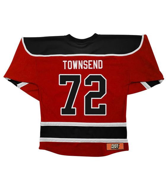 DEVIN TOWNSEND 'TO THE NORTH' hockey jersey in red, black, and white back view